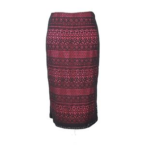 7th Ave Sz 8 Pink & Black Lace Pencil Skirt